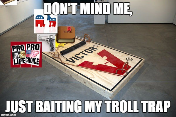 Surely This Will Do The Trick | DON'T MIND ME, JUST BAITING MY TROLL TRAP | image tagged in religion,abortion,guns,politics,troll | made w/ Imgflip meme maker
