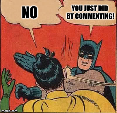 Batman Slapping Robin Meme | NO YOU JUST DID BY COMMENTING! | image tagged in memes,batman slapping robin | made w/ Imgflip meme maker
