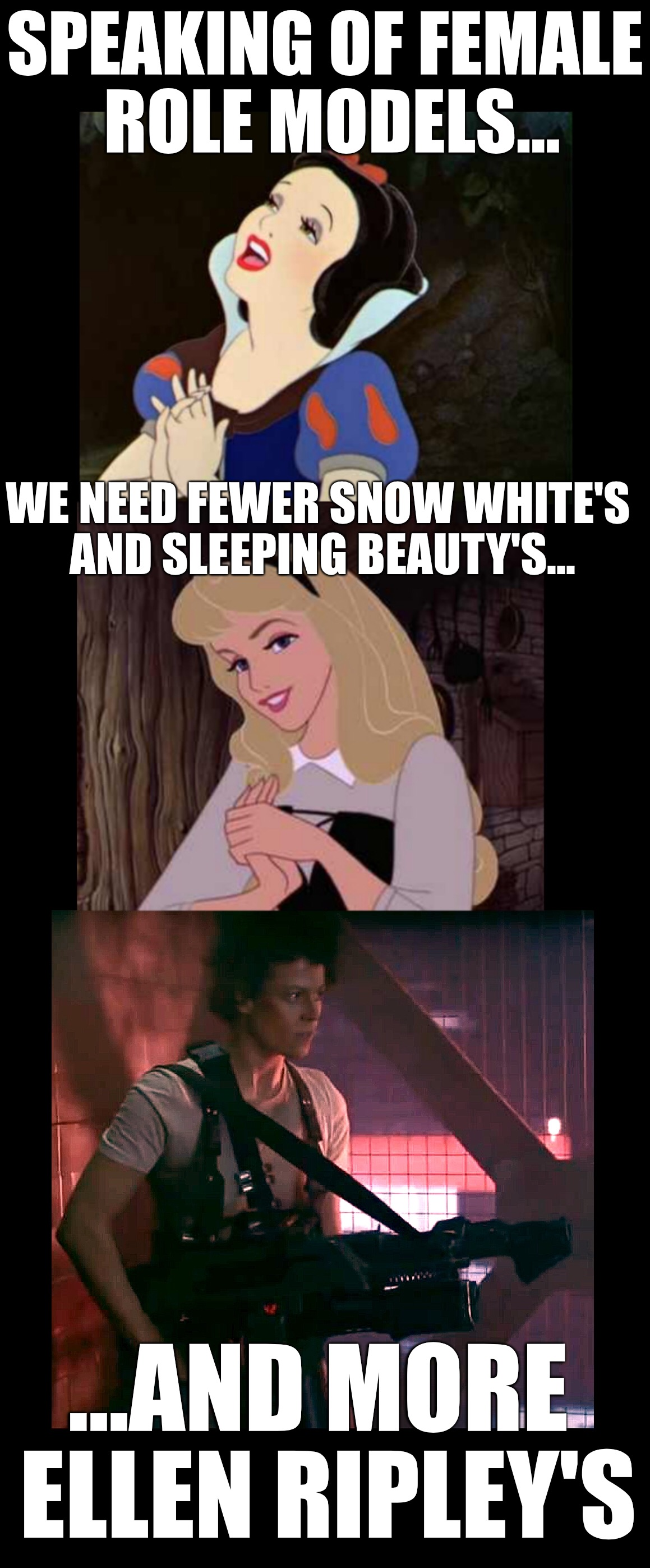 Modern female role models | SPEAKING OF FEMALE ROLE MODELS... WE NEED FEWER SNOW WHITE'S AND SLEEPING BEAUTY'S... ...AND MORE ELLEN RIPLEY'S | image tagged in ripley,aliens,snow white,sleeping beauty,female,role model | made w/ Imgflip meme maker