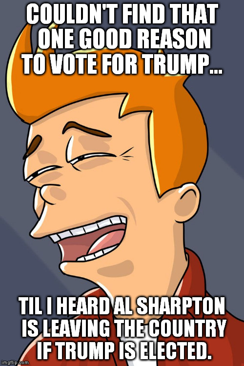 we all have our reasons... | COULDN'T FIND THAT ONE GOOD REASON TO VOTE FOR TRUMP... TIL I HEARD AL SHARPTON IS LEAVING THE COUNTRY IF TRUMP IS ELECTED. | image tagged in futurama fry | made w/ Imgflip meme maker