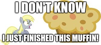 The BIG muffin w/derpy | I DON'T KNOW I JUST FINISHED THIS MUFFIN! | image tagged in the big muffin w/derpy | made w/ Imgflip meme maker
