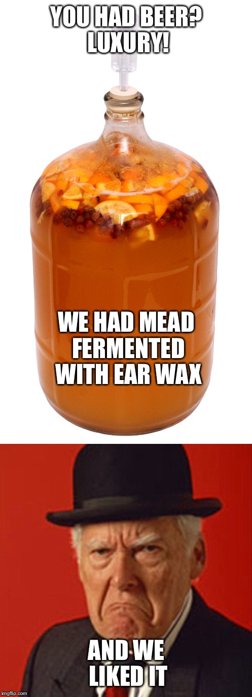 YOU HAD BEER? LUXURY! AND WE LIKED IT WE HAD MEAD FERMENTED WITH EAR WAX | made w/ Imgflip meme maker
