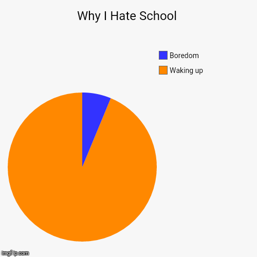 Why I Hate School | Waking up, Boredom | image tagged in funny,pie charts | made w/ Imgflip chart maker