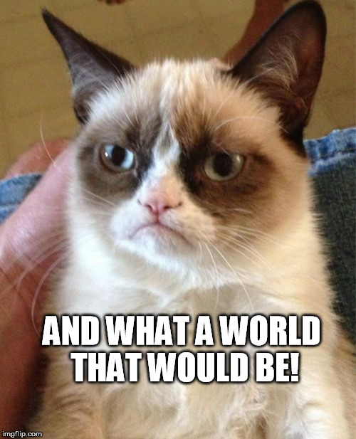 Grumpy Cat Meme | AND WHAT A WORLD THAT WOULD BE! | image tagged in memes,grumpy cat | made w/ Imgflip meme maker