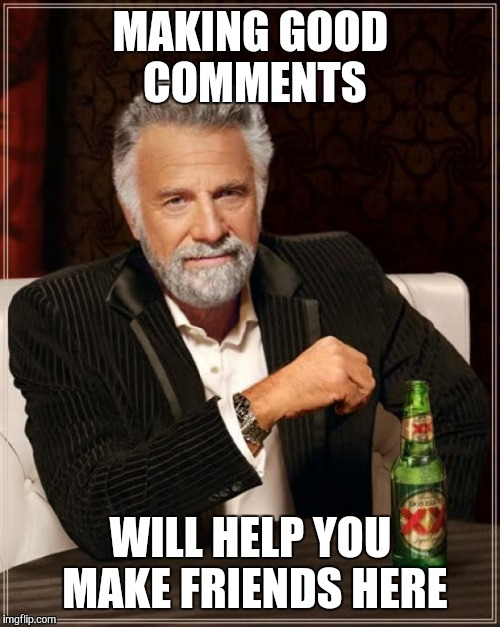 The Most Interesting Man In The World Meme | MAKING GOOD COMMENTS WILL HELP YOU MAKE FRIENDS HERE | image tagged in memes,the most interesting man in the world | made w/ Imgflip meme maker