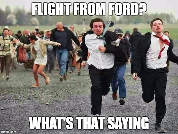 TEACHER TURNOVER | FLIGHT FROM FORD? WHAT'S THAT SAYING | image tagged in stampede,teacher,school,principal | made w/ Imgflip meme maker