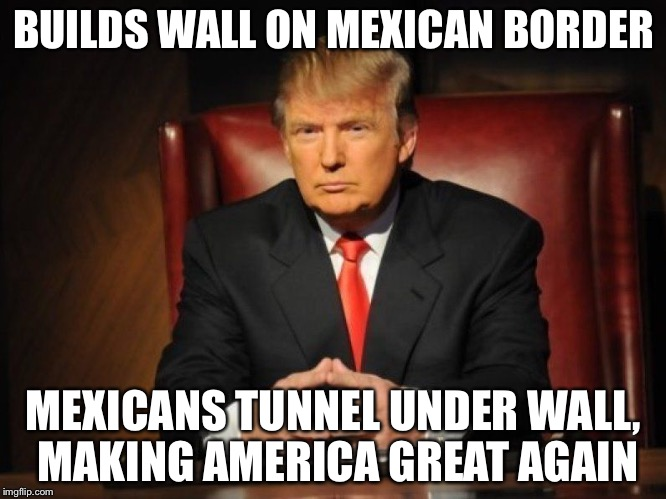 donald trump |  BUILDS WALL ON MEXICAN BORDER; MEXICANS TUNNEL UNDER WALL, MAKING AMERICA GREAT AGAIN | image tagged in donald trump | made w/ Imgflip meme maker