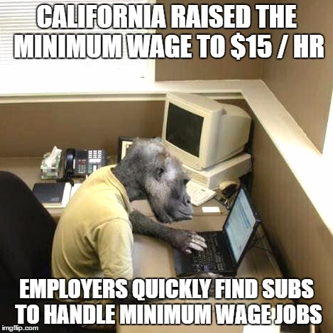 Monkey Business | CALIFORNIA RAISED THE MINIMUM WAGE TO $15 / HR EMPLOYERS QUICKLY FIND SUBS TO HANDLE MINIMUM WAGE JOBS | image tagged in memes,monkey business | made w/ Imgflip meme maker