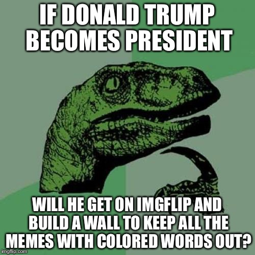 Donald Trump will ban all the colored texts! |  IF DONALD TRUMP BECOMES PRESIDENT; WILL HE GET ON IMGFLIP AND BUILD A WALL TO KEEP ALL THE MEMES WITH COLORED WORDS OUT? | image tagged in memes,philosoraptor,donald trump,presidential race,president 2016 | made w/ Imgflip meme maker
