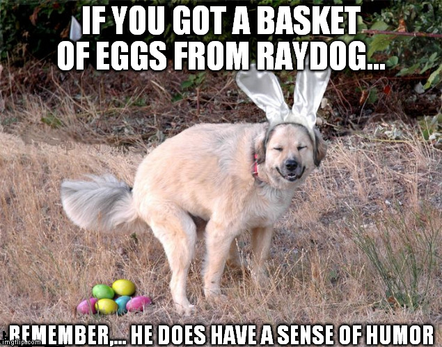raydogs humor is legendary on imgflip! | IF YOU GOT A BASKET OF EGGS FROM RAYDOG... REMEMBER,... HE DOES HAVE A SENSE OF HUMOR | image tagged in easter | made w/ Imgflip meme maker