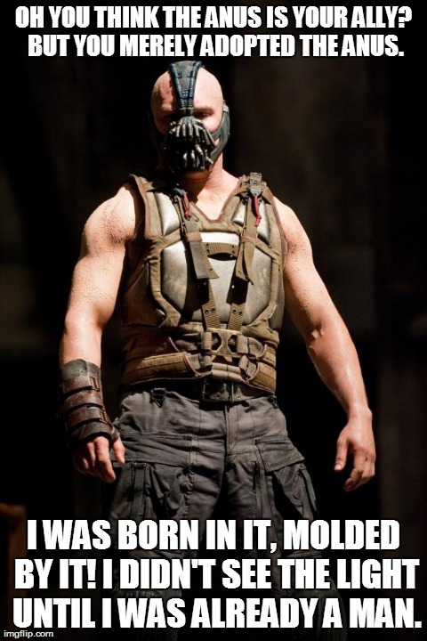 OH YOU THINK THE ANUS IS YOUR ALLY? BUT YOU MERELY ADOPTED THE ANUS. I WAS BORN IN IT, MOLDED BY IT! I DIDN'T SEE THE LIGHT UNTIL I WAS ALRE | image tagged in funny | made w/ Imgflip meme maker