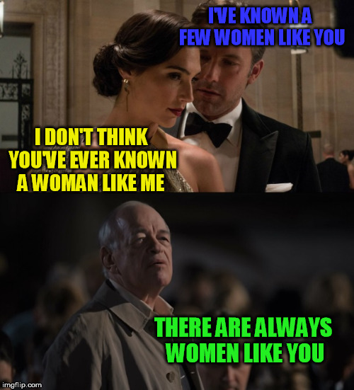 I'VE KNOWN A FEW WOMEN LIKE YOU I DON'T THINK YOU'VE EVER KNOWN A WOMAN LIKE ME THERE ARE ALWAYS WOMEN LIKE YOU | image tagged in batman,wonder woman,avengers,funny memes | made w/ Imgflip meme maker