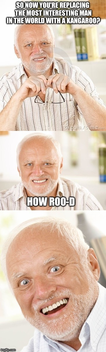 Hide the pun Harold | SO NOW YOU'RE REPLACING THE MOST INTERESTING MAN IN THE WORLD WITH A KANGAROO? HOW ROO-D | image tagged in hide the pun harold | made w/ Imgflip meme maker