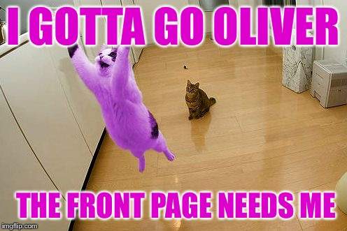RayCat save the world | I GOTTA GO OLIVER THE FRONT PAGE NEEDS ME | image tagged in raycat save the world | made w/ Imgflip meme maker