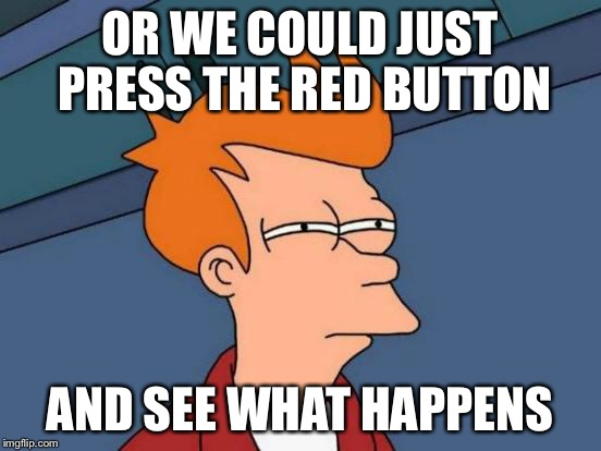 OR WE COULD JUST PRESS THE RED BUTTON AND SEE WHAT HAPPENS | image tagged in memes,futurama fry | made w/ Imgflip meme maker