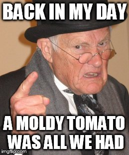 Back In My Day Meme | BACK IN MY DAY A MOLDY TOMATO WAS ALL WE HAD | image tagged in memes,back in my day | made w/ Imgflip meme maker