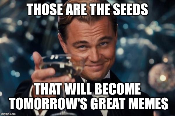 Leonardo Dicaprio Cheers Meme | THOSE ARE THE SEEDS THAT WILL BECOME TOMORROW'S GREAT MEMES | image tagged in memes,leonardo dicaprio cheers | made w/ Imgflip meme maker
