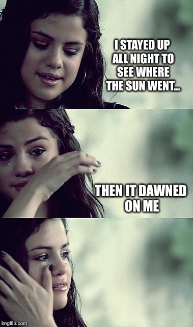 Bad Pun Selena | I STAYED UP ALL NIGHT TO SEE WHERE THE SUN WENT... THEN IT DAWNED ON ME | image tagged in selena gomez crying,memes | made w/ Imgflip meme maker