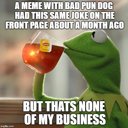 But Thats None Of My Business Meme | A MEME WITH BAD PUN DOG HAD THIS SAME JOKE ON THE FRONT PAGE ABOUT A MONTH AGO BUT THATS NONE OF MY BUSINESS | image tagged in memes,but thats none of my business,kermit the frog | made w/ Imgflip meme maker