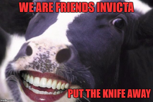 Hide The Pain Cow  | WE ARE FRIENDS INVICTA PUT THE KNIFE AWAY | image tagged in hide the pain cow | made w/ Imgflip meme maker