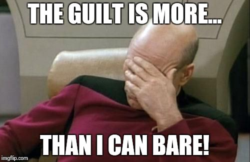 Captain Picard Facepalm Meme | THE GUILT IS MORE... THAN I CAN BARE! | image tagged in memes,captain picard facepalm | made w/ Imgflip meme maker