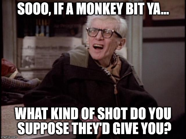 If a Monkey bit ya | SOOO, IF A MONKEY BIT YA... WHAT KIND OF SHOT DO YOU SUPPOSE THEY'D GIVE YOU? | image tagged in carlton,wings,monkey bite | made w/ Imgflip meme maker