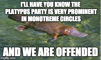 Platypus by Strongly Opinionated Platypus | I'LL HAVE YOU KNOW THE PLATYPUS PARTY IS VERY PROMINENT IN MONOTREME CIRCLES AND WE ARE OFFENDED | image tagged in platypus by strongly opinionated platypus | made w/ Imgflip meme maker