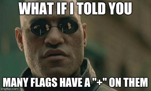"Matrix Morpheus Meme | WHAT IF I TOLD YOU MANY FLAGS HAVE A ""+"" ON THEM 
