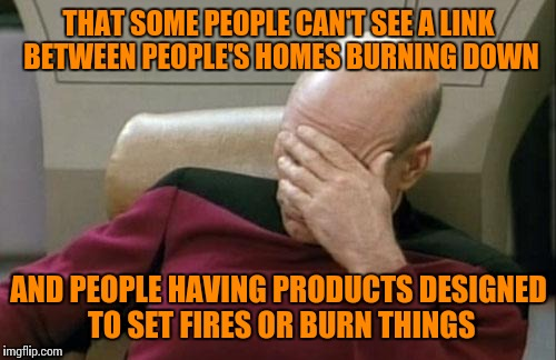 Captain Picard Facepalm Meme | THAT SOME PEOPLE CAN'T SEE A LINK BETWEEN PEOPLE'S HOMES BURNING DOWN AND PEOPLE HAVING PRODUCTS DESIGNED TO SET FIRES OR BURN THINGS | image tagged in memes,captain picard facepalm | made w/ Imgflip meme maker