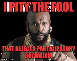 Comrade T |  I PITY THE FOOL; THAT REJECTS PARTICIPATORY SOCIALISM | image tagged in socialism | made w/ Imgflip meme maker