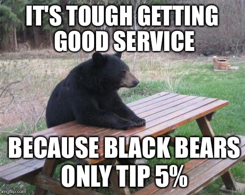 Ask any current or former waitress | IT'S TOUGH GETTING GOOD SERVICE BECAUSE BLACK BEARS ONLY TIP 5% | image tagged in memes,bad luck bear,black bears,tipping,restaurant,angry waitress | made w/ Imgflip meme maker