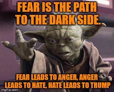 Yoda on Trump |  FEAR IS THE PATH TO THE DARK SIDE. FEAR LEADS TO ANGER, ANGER LEADS TO HATE, HATE LEADS TO TRUMP | image tagged in trump,yoda | made w/ Imgflip meme maker