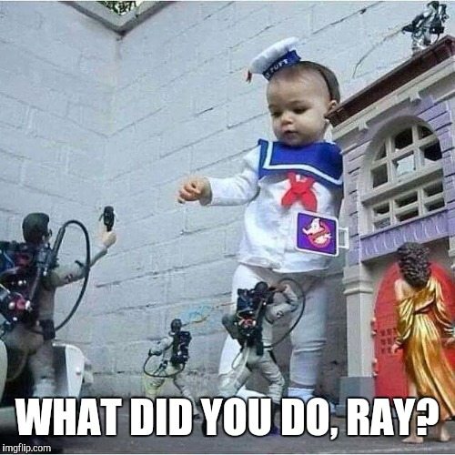 WHAT DID YOU DO, RAY? | image tagged in ghostbusters,venkman,stay puft marshmallow man | made w/ Imgflip meme maker
