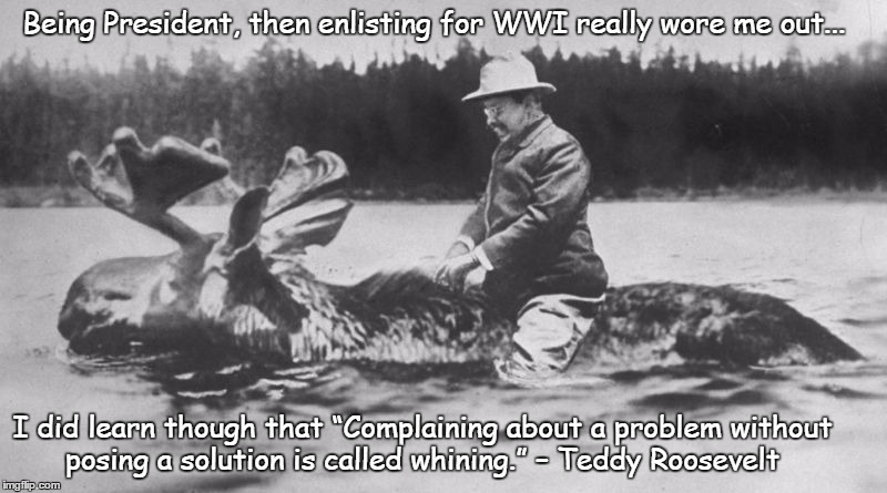 "On the Nature Trail with TR | Being President, then enlisting for WWI really wore me out... I did learn though that ""Complaining about a problem without posing a solution 