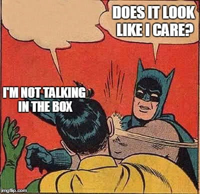 Batman Slapping Robin Meme | I'M NOT TALKING IN THE BOX DOES IT LOOK LIKE I CARE? | image tagged in memes,batman slapping robin | made w/ Imgflip meme maker