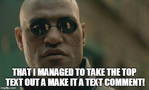 Matrix Morpheus Meme | THAT I MANAGED TO TAKE THE TOP TEXT OUT A MAKE IT A TEXT COMMENT! | image tagged in memes,matrix morpheus | made w/ Imgflip meme maker