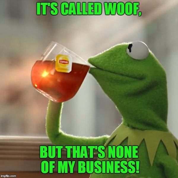 But Thats None Of My Business Meme | IT'S CALLED WOOF, BUT THAT'S NONE OF MY BUSINESS! | image tagged in memes,but thats none of my business,kermit the frog | made w/ Imgflip meme maker