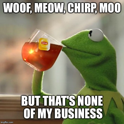 But Thats None Of My Business Meme | WOOF, MEOW, CHIRP, MOO BUT THAT'S NONE OF MY BUSINESS | image tagged in memes,but thats none of my business,kermit the frog | made w/ Imgflip meme maker