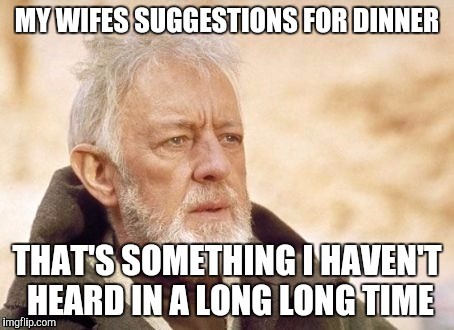 MY WIFES SUGGESTIONS FOR DINNER THAT'S SOMETHING I HAVEN'T HEARD IN A LONG LONG TIME | made w/ Imgflip meme maker
