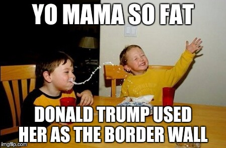 Yo Mamas So Fat Meme | YO MAMA SO FAT DONALD TRUMP USED HER AS THE BORDER WALL | image tagged in memes,yo mamas so fat,funny,donald trump,mexico | made w/ Imgflip meme maker