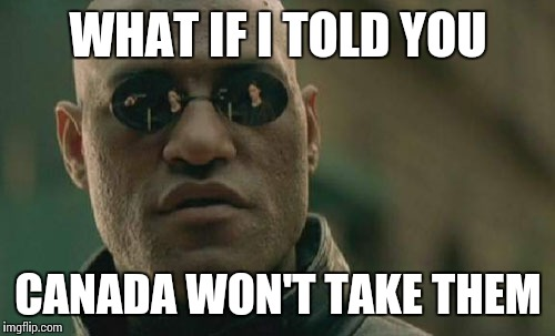 Matrix Morpheus Meme | WHAT IF I TOLD YOU CANADA WON'T TAKE THEM | image tagged in memes,matrix morpheus | made w/ Imgflip meme maker