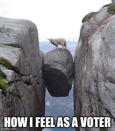 Presidential choices be like... | HOW I FEEL AS A VOTER | image tagged in between a rock and a hard place,election 2016,hillary,bernie,trump,cruz | made w/ Imgflip meme maker