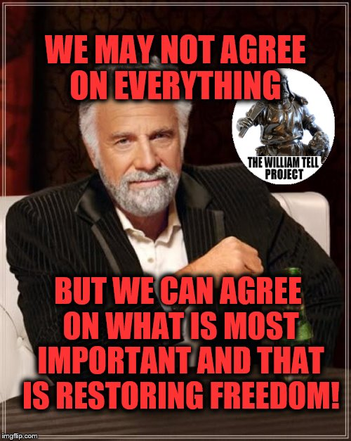 The Most Interesting Man In The World Meme | WE MAY NOT AGREE ON EVERYTHING BUT WE CAN AGREE ON WHAT IS MOST IMPORTANT AND THAT IS RESTORING FREEDOM! | image tagged in memes,the most interesting man in the world | made w/ Imgflip meme maker