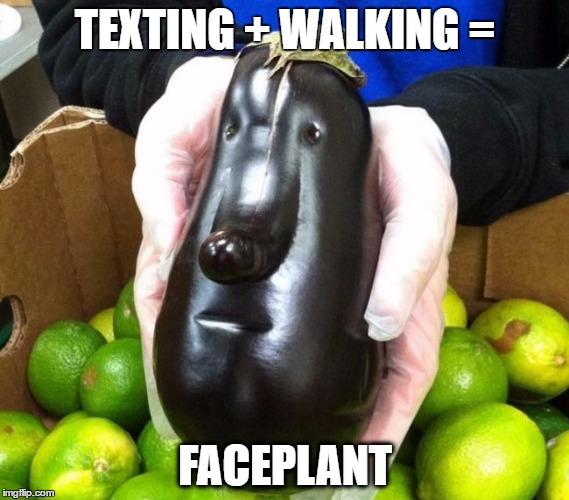 FACEPLANT | TEXTING + WALKING = FACEPLANT | image tagged in funny face,vegetable,faceplant | made w/ Imgflip meme maker