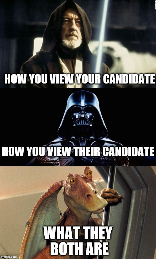 2016 Explained In Star Wars | HOW YOU VIEW YOUR CANDIDATE WHAT THEY BOTH ARE HOW YOU VIEW THEIR CANDIDATE | image tagged in election 2016,star wars | made w/ Imgflip meme maker