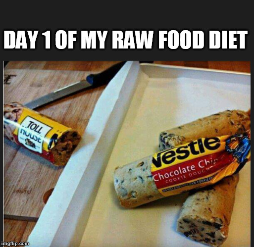 DAY 1 OF MY RAW FOOD DIET  | DAY 1 OF MY RAW FOOD DIET | image tagged in food | made w/ Imgflip meme maker