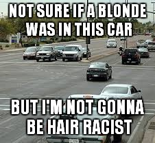 NOT SURE IF A BLONDE WAS IN THIS CAR BUT I'M NOT GONNA BE HAIR RACIST | made w/ Imgflip meme maker