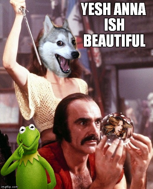 The meme war gets complicated.. | image tagged in kermit vs connery,bad pun dog,bad pun anna kendrick,meme war | made w/ Imgflip meme maker