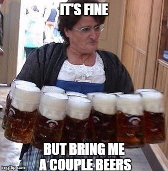 IT'S FINE BUT BRING ME A COUPLE BEERS | made w/ Imgflip meme maker