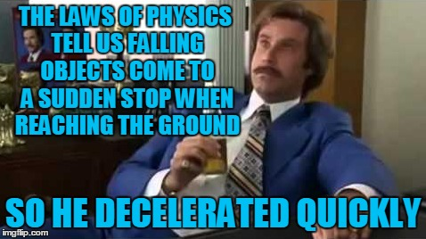 THE LAWS OF PHYSICS TELL US FALLING OBJECTS COME TO A SUDDEN STOP WHEN REACHING THE GROUND SO HE DECELERATED QUICKLY | made w/ Imgflip meme maker
